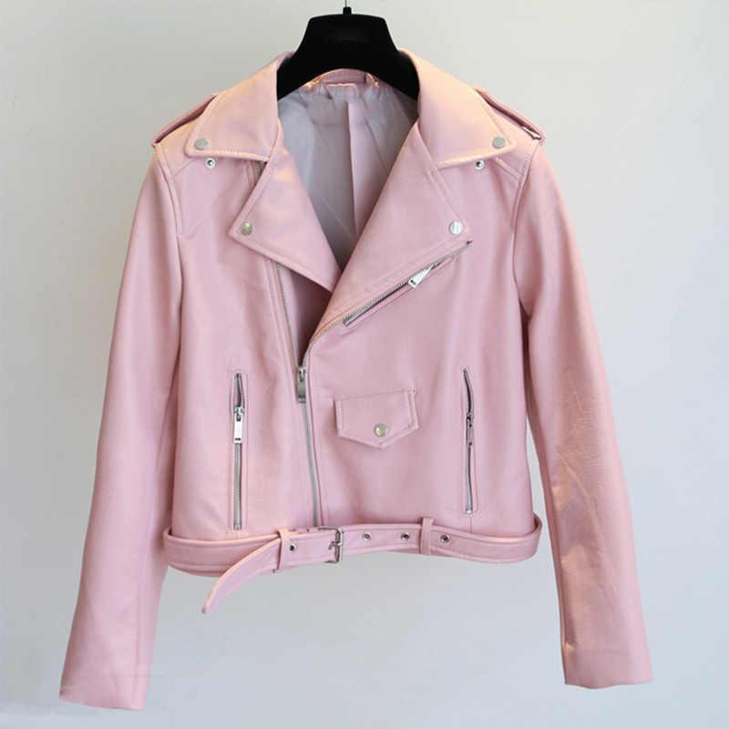 FTLZZ 2019 nowa kobiety Pu skórzana kurtka moda jasny kolor czarny silnik płaszcze krótkie Faux Leather Biker kurtki płaszcz kobiet
