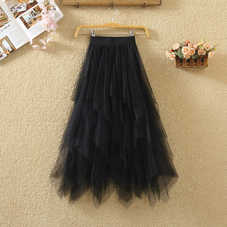 Women irregular Tulle Skirts Fashion Elastic High Waist Mesh Tutu Skirt Pleated Long Skirts Midi Skirt Saias Faldas Jupe Femmle 11