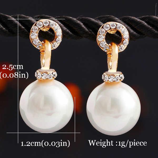 204d6e15b ... 2018 New Korean Pearl Gold Stud Earrings for Women Indian Earings Fashion  Jewelry Female Brincos Oorbellen
