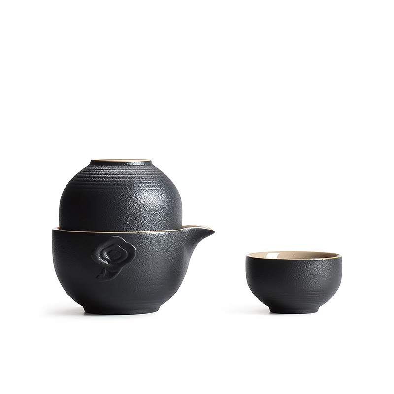 PINNY Antique Black Pottery Travel Tea Set Simple Kung Fu Teapot Zahrnujte 1 hrnec 2 šálek Gaiwan Krásný a snadný čajový servis