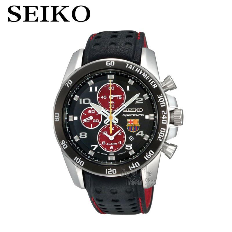 SEIKO Watch Limited Edition SNAE75P1 Sportura FC Barcelona Tachymeter Sapphire Glass Quartz Chronograph seiko sportura sun017p1