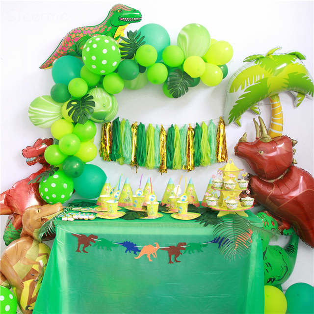 Kawaii Dinosaur Birthday Party Decoration Balloon Chain Paper Tassel Banners Baby Shower Event Supplies Childrens Day Candy Bar