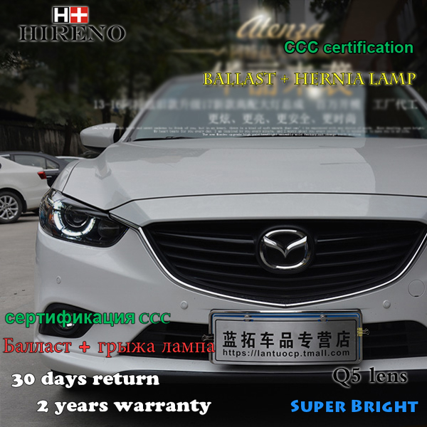 Hireno Headlamp for 2013-2015 Mazda 6 Mazda6 Headlight Assembly LED DRL Angel Lens Double Beam HID Xenon 2pcs hireno headlamp for 2013 2015 nissan tiida headlight assembly led drl angel lens double beam hid xenon 2pcs