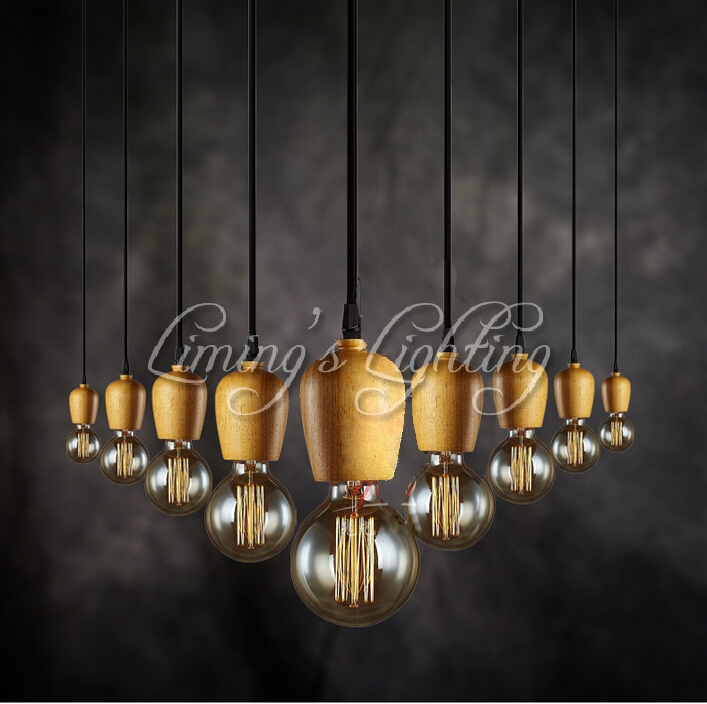 Native Wood EDISON Handmade E27 Colorful Arts Bar Wooden Chandelier Hanging LED Pendant Lamp Lights Lighting Bulbs Holder denmark antique pinecone ph artichoke oak wooden pineal modern creative handmade wood led hanging chandelier lamp lighting light