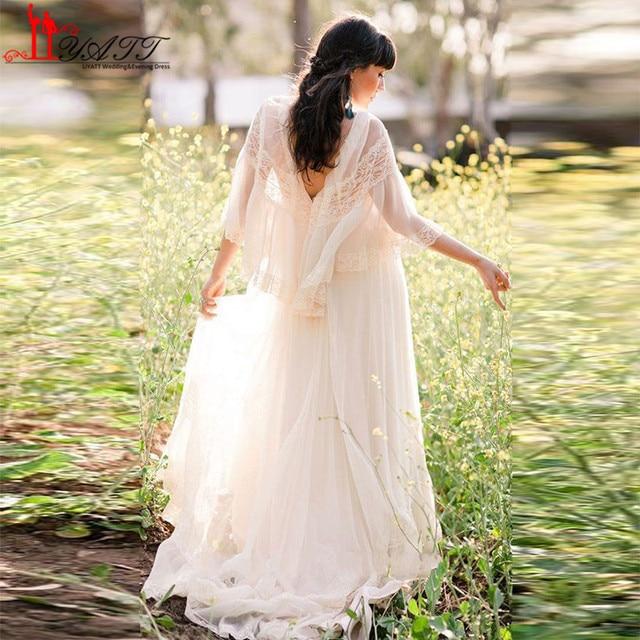 New Bohemian Evening Dress 2017 V Neck Lace Beach Prom Dresses Plus ...