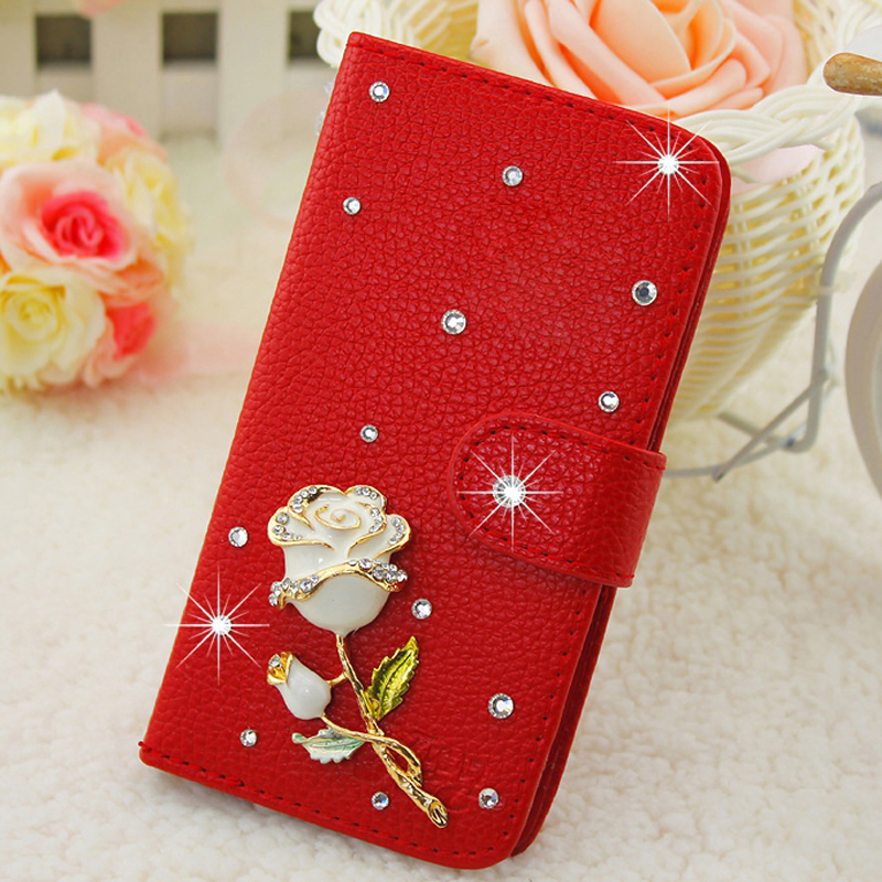 New Smile Case for Samsung Galaxy S5 mini Bags Luxury White Pink Red Rose Rhinestone for Samsung Galaxy S5 mini G800 5.5 Cases