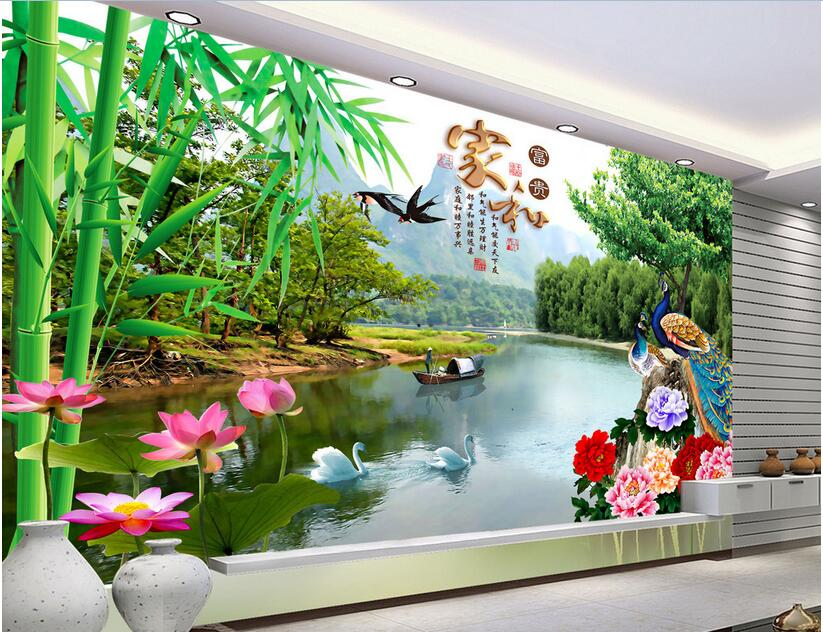 3d room wallpaper High-end custom mural non-woven wall sticker 3 d The lotus flower peony peacock photo 3d wall murals wallpaper 3d murals wallpaper kids room football baby photo high end custom non woven wall sticker room sofa tv background wall painting