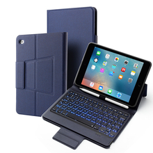 for iPad Mini 5 4/iPad 2019 Tablet Bluetooth Keyboard Leather Case Set 7 Color Backlight with Bracket Pen Holder