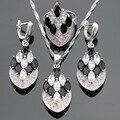 Piedras de plata Sistemas de La Joyería Para Las Mujeres de Color Negro Blanco Cubic Zirconia Pendientes/Anillo/Collar/Colgante de Regalo caja