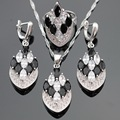 Silver Color Jewelry Sets For Women Black Stones White Cubic Zirconia Earrings/Ring/Necklace/Pendant Free Gift Box