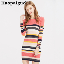 2019 Autumn Winter Print Striped Wool Knitted Sweaters Dress Women Long Sleeve Streetwear Pullovers Oversized Modis Sweater Pull