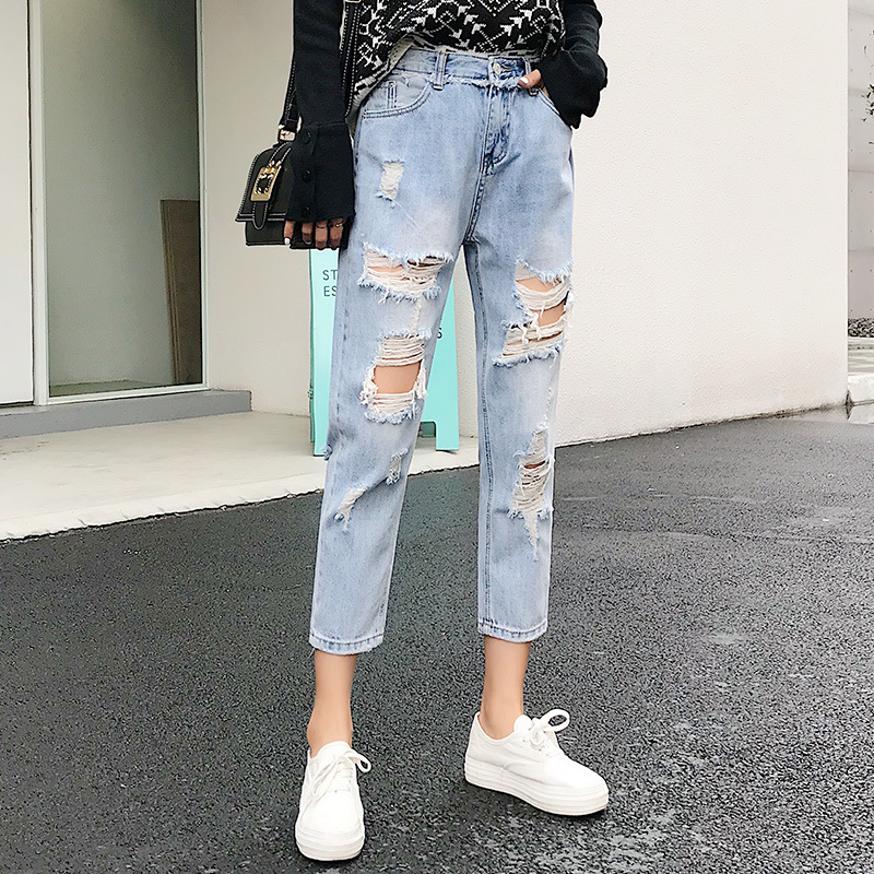 Blue Loose Vintage High Waist Ripped Jeans For Women 1