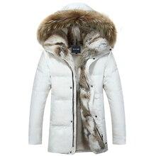 Dropสำหรับผู้ชายและสตรีลงเสื้อฤดูหนาวหนาHoodราคาWarmกันน้ำBig Raccoonปลอกคอขนสัตว์ABZ58