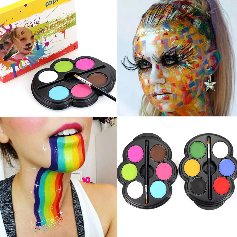 popfeel brand rainbow body paint color neon uv glowing face painting palette temporary tattoo. Black Bedroom Furniture Sets. Home Design Ideas