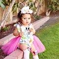 Niño de la ropa del bebé niñas tutu dress impresión conejo niños ropa de algodón Ropa Infantil Sistema Ocasional 1 Unidades HaltRomper y Falda 0-24 M