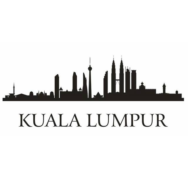 Kuala Lumpur City Decal Landmark Skyline Wall Stickers Sketch Decals Poster Parede Home Decor
