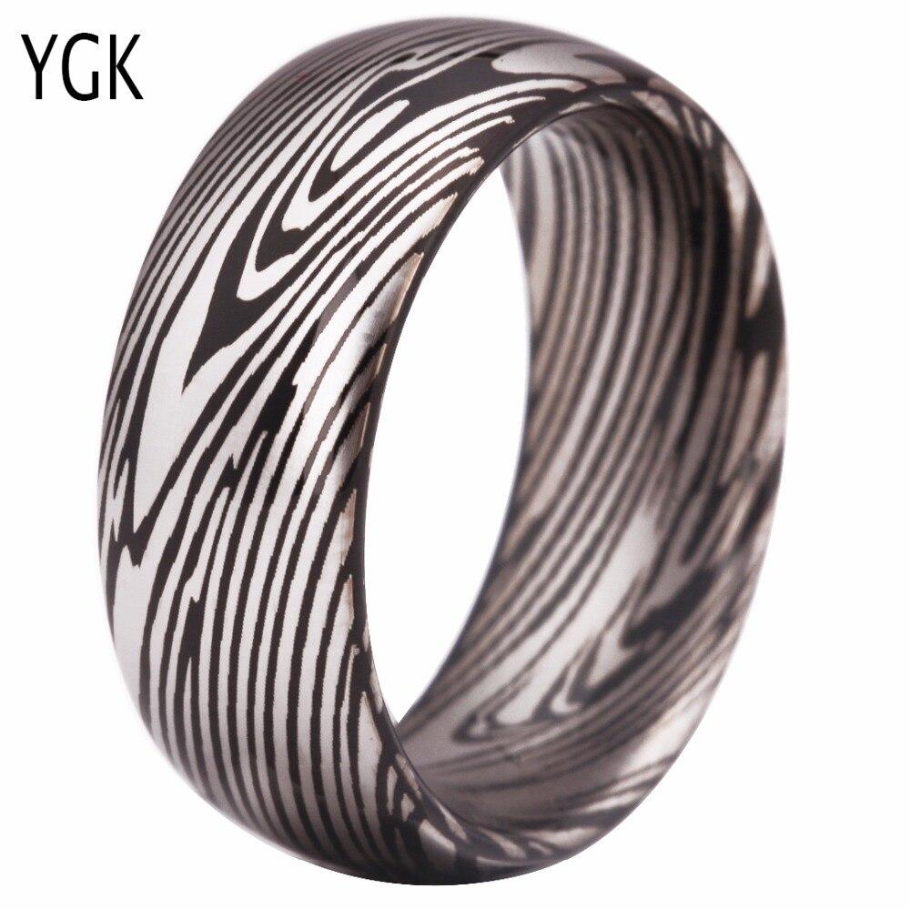Classic Romantic Wedding Rings Jewelry for Women Men Love Engagement Rings 100% Tungsten Damascus Steel Grain Pattern Ring Black цена 2017