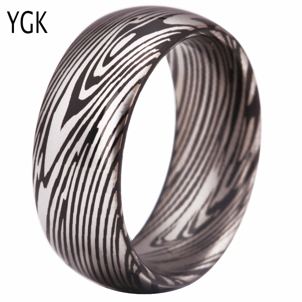 цены YGK Brand Hot Sales 8MM Black Dome Damascus Steel Grain Pattern Mens New Wedding Tungsten Rings