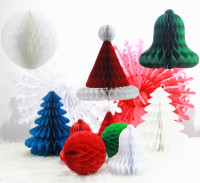 12pcs Christmas Ideas Decorations Set Paper Honeycomb Christmas Trees Bells Balls Santa Hats Snowflake Fans 2015