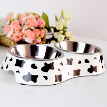 2017 New Cow Color Pet Dogs Cats Stainless Steel Double Row of Pottery and Porcelain Bowl Pet Drinking Water Food Bowl