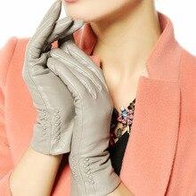 Warmen leather gloves lady sheepskin fashion solid Genuine glvoes wrist warm winter driving