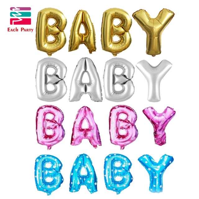 4pcs gold silver letter Baby foil balloons wedding party decoration inflatable letters air balls wedding balloons party supplies
