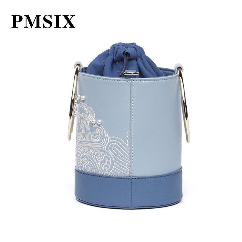 Métal Perle poignée Supérieure Pmsix Blue Célèbres Pour Bandoulière Light Broderie Main Cuir Sacs En Femmes Marques À Haut Qualité Femelle ZqqX7rO