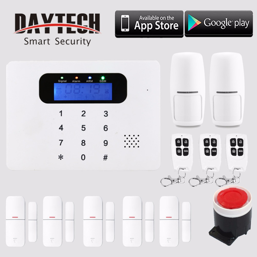 Wireless GSM SMS Burglar Alarm Home Security System with PIR Motion Sensor Door Magnet Sensor APP Control IOS/Android marlboze wireless home security gsm wifi gprs alarm system ios android app remote control rfid card pir sensor door sensor kit