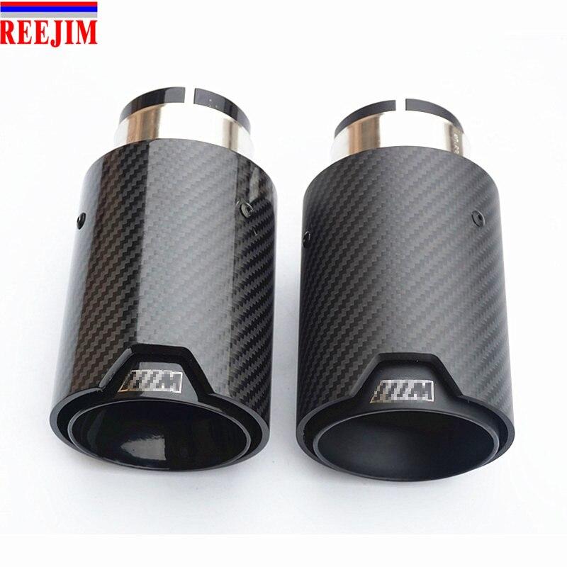 1 pièce noir M Performance en fiber de carbone silencieux d'échappement pointe tuyau de silencieux pour BMW voiture-style