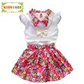 High Quality Girl Kids Clothing Set Summer Fashion Lace Shirt+Flower Short skirts Toddler Girls Sets Brand Short sleeve Costumes