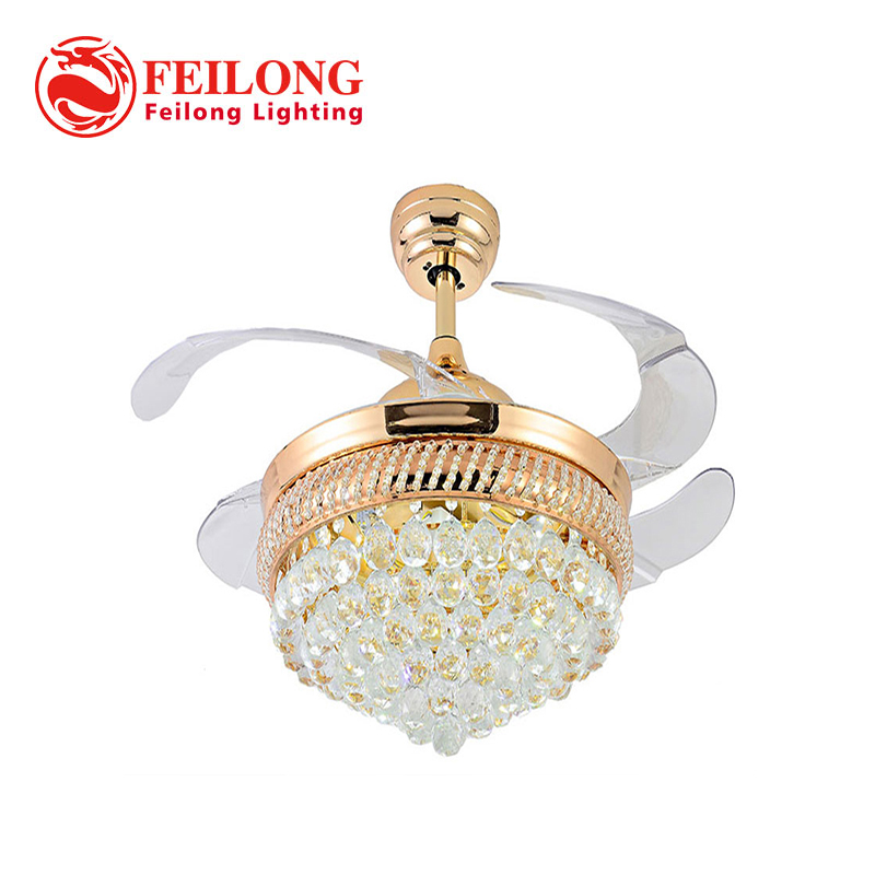 23.8KG Art Decorative CRYSTAL Ceiling Fan with light Y4216 Retractable Blades Fans Hidden Blades Super Quiet body material IRON ...