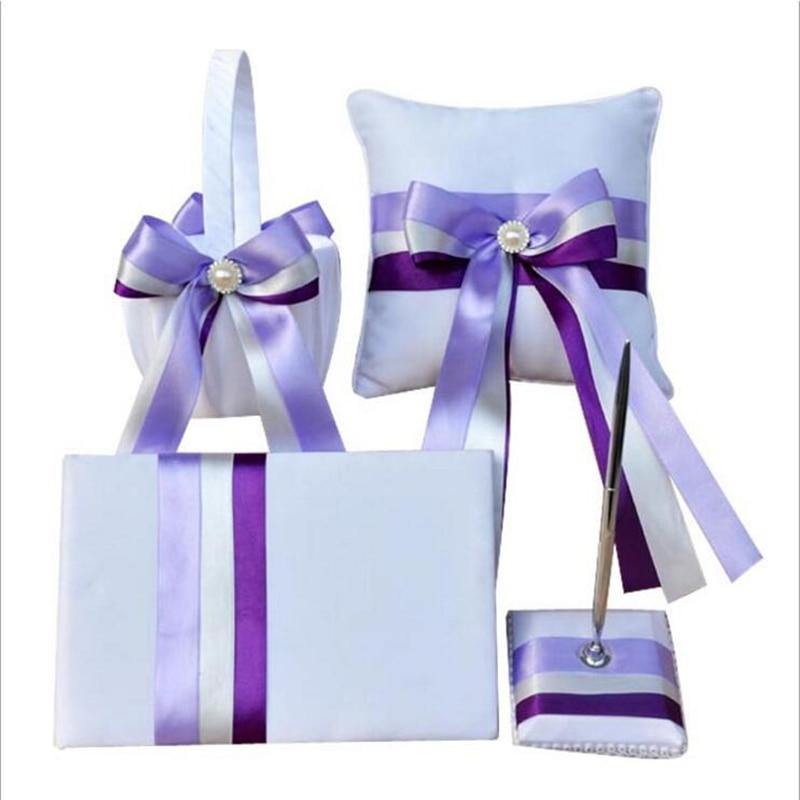 Noeud de ruban Double couleur 4 pièces/ensemble (livre d'or + panier de fleurs + porte-stylo + oreiller d'anneau) perles faites à la main décor fournitures de mariage