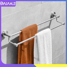 Bathroom Towel Holder Stainless Steel Brushed Doubel Bar Wall Mounted Rack Hanging Rail Storage Shelf