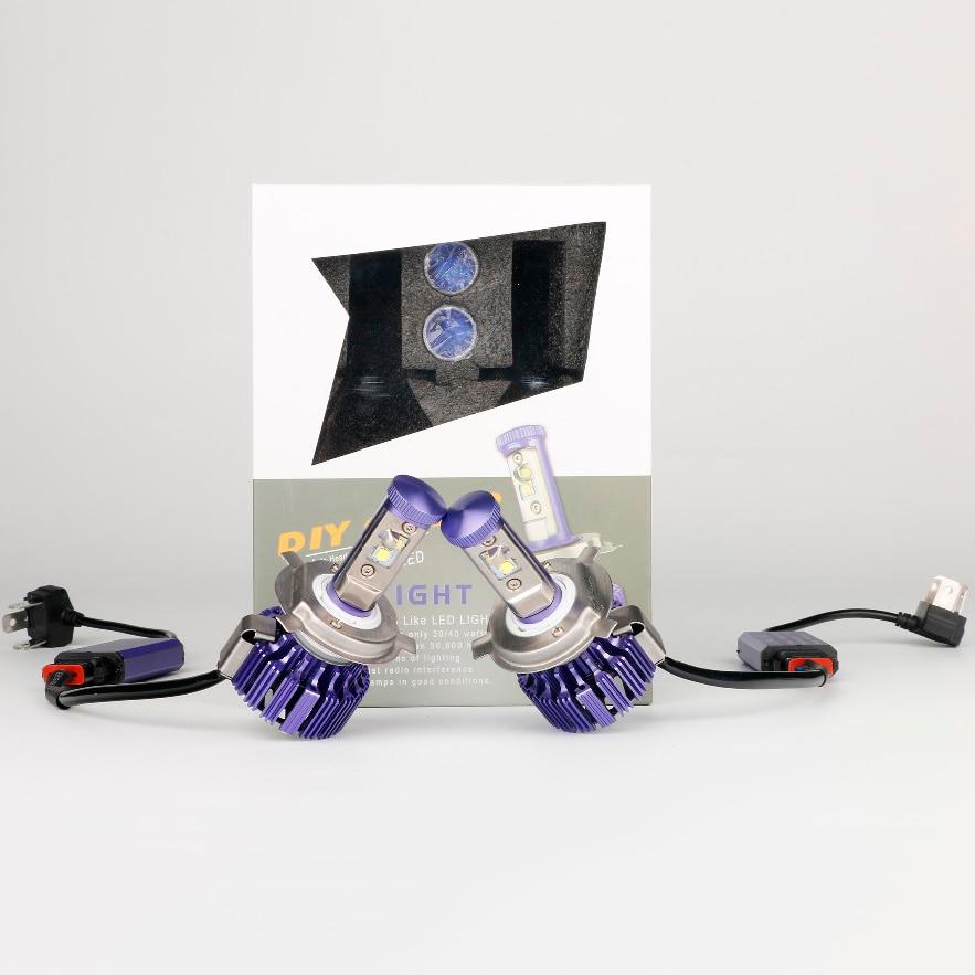 Новейшие 40 Вт 4000lm Сид на H4 9003 сайт hb2 фары автомобиля СИД высокий низкий Белый свечей автомобиля 6000K стайлинг фиолетовый цвет уникальная фара Стиль