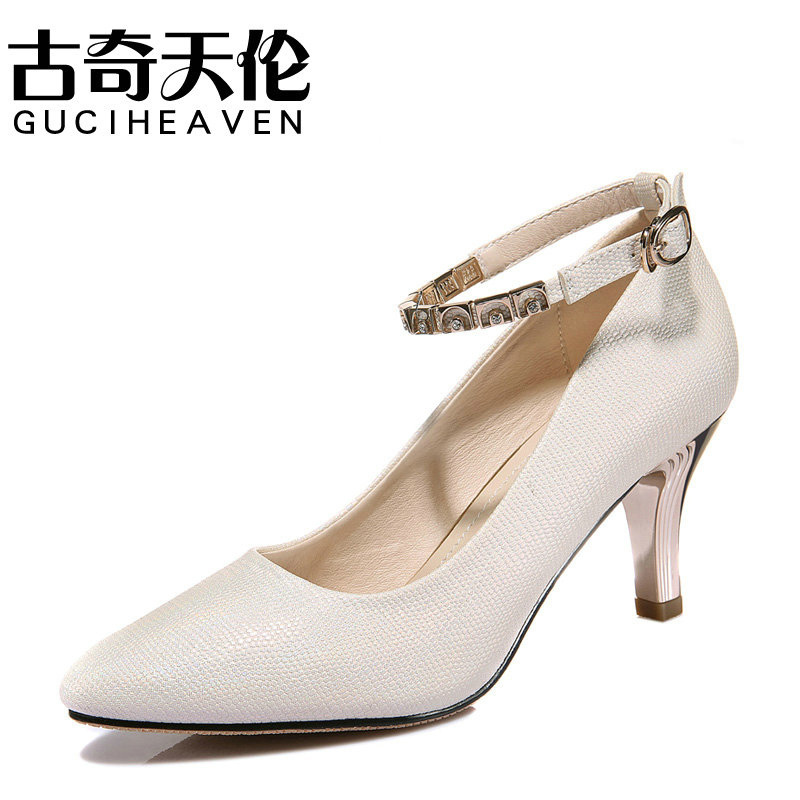 Guciheaven 3114 Top Quality Summer Women's High-heeled Sandle Pumps Pointed Toe Thin Heel Sweet Female Beading Sexy Nude Shoes female summer european style stitching sequins pointed personality gradient color with ultra thin high heeled shoes