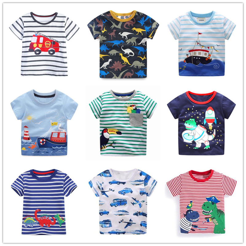 VIDMID children summer clothing baby boy T shirt cotton dinosaur short sleeve T-shirt kid boy casual sport T-shirt 2-8Y shirts fashion baby girl t shirt set cotton heart print shirt hole denim cropped trousers casual polka dot children clothing set