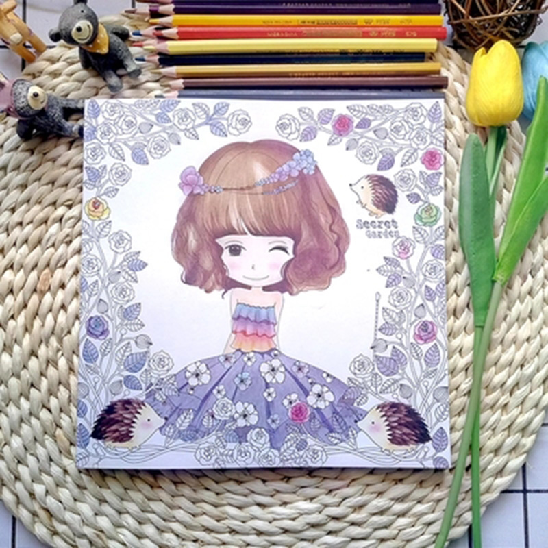 New Best Selling Books Flower Flower Girl Coloring Book Adult Coloring Book Secret Garden Stress Manual Painting For Adults