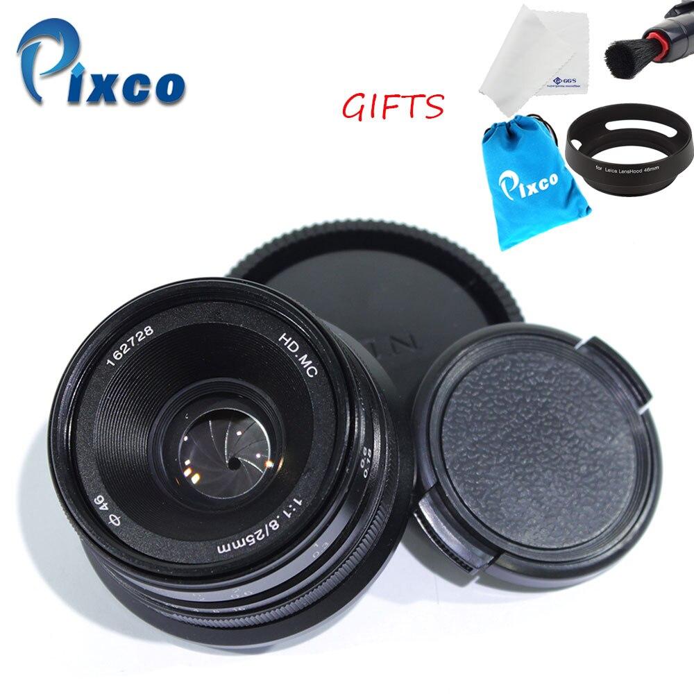 Pixco 25mm F1.8 HD.MC Lens for Sony Nex Camera Micro Four Thirds M4/3 Cameras + Lens cleaning cloth + pen+ lens hood+ cloth bag