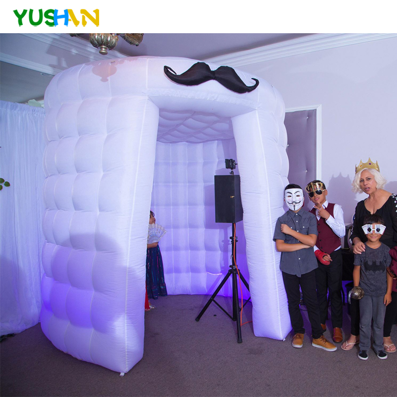 LED Lights portable photo booth tent with mustache props Round photo booth photography backdrops Inflatable Photo Booth For Sale