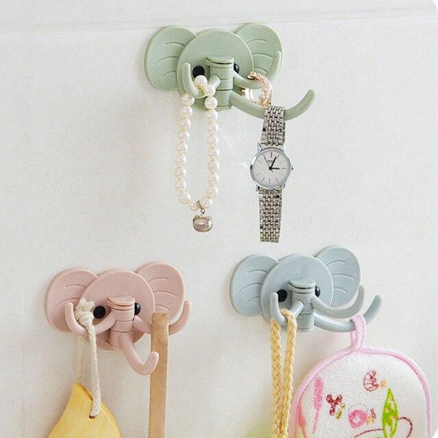 cute elephant design wall sticker hooks kitchen bathroom hanger