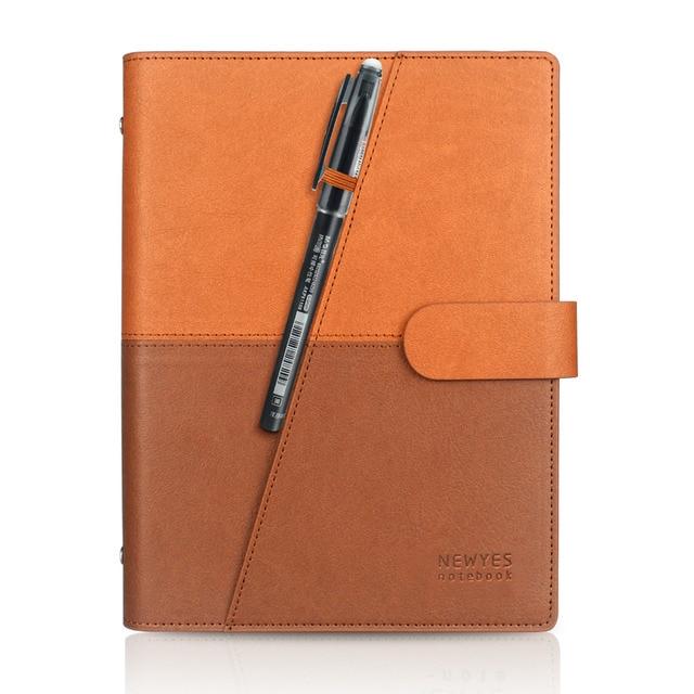 Drop shipping Brown Erasable Notebook PU Reusable Smart Wirebound Notebook pocketbook Cloud Flash Storage caderno inteligente