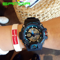 2017 New SANDA Fashion Men S Watch Men Waterproof LED Military Sports Watch Analog Digital Quartz