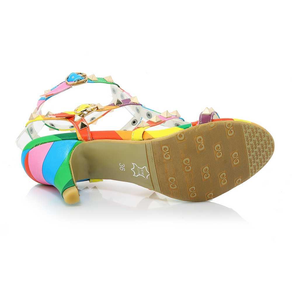 TXCNMB 2019 מעורב צבע נעלי נשים סנדלי קיץ נעליים מחוץ אופנה מסמרת כיכר עקבים גבוהים פרדות נשי שמלת נעלי אישה