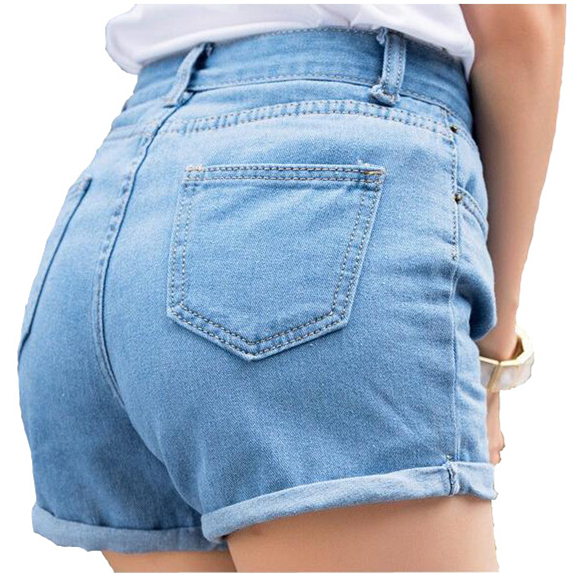 New Spring Summer Retro high waist Women denim shorts Blue loose short female thin curling fashion lager size short jeans women