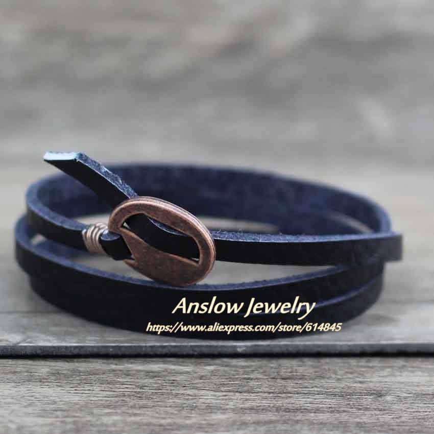 Anslow חדש לגמרי עיצוב תכשיטים סיטונאי בציר רב שכבתי לעטוף עור צמיד לגברים נשים 65 Cm מתנה LOW0232LB