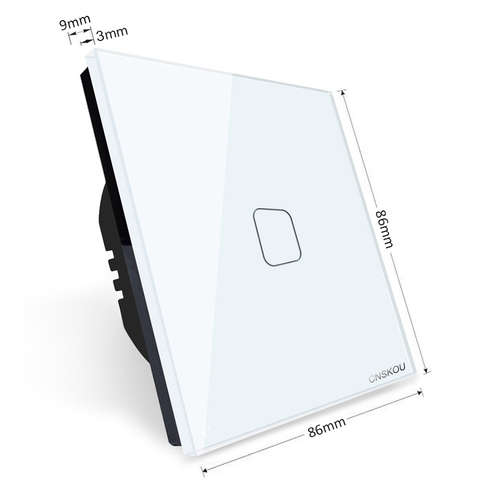 CNSKOU 2019 EU Standard Smart Home 1Gang 1Way Luxury Crystal Glass Panel Electrical Wall Touch Light Switch 220V in Switches from Lights Lighting