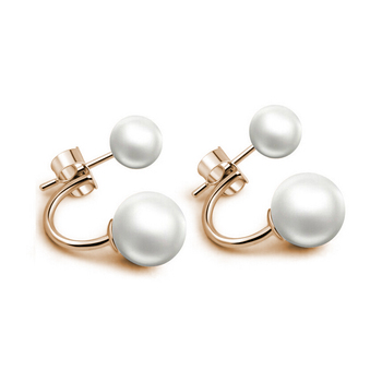 Hot Silver Plated Double Side Earing Fashion Jewelry Crystal Ball Stud Earrings Simulated Pearl Earrings for Women