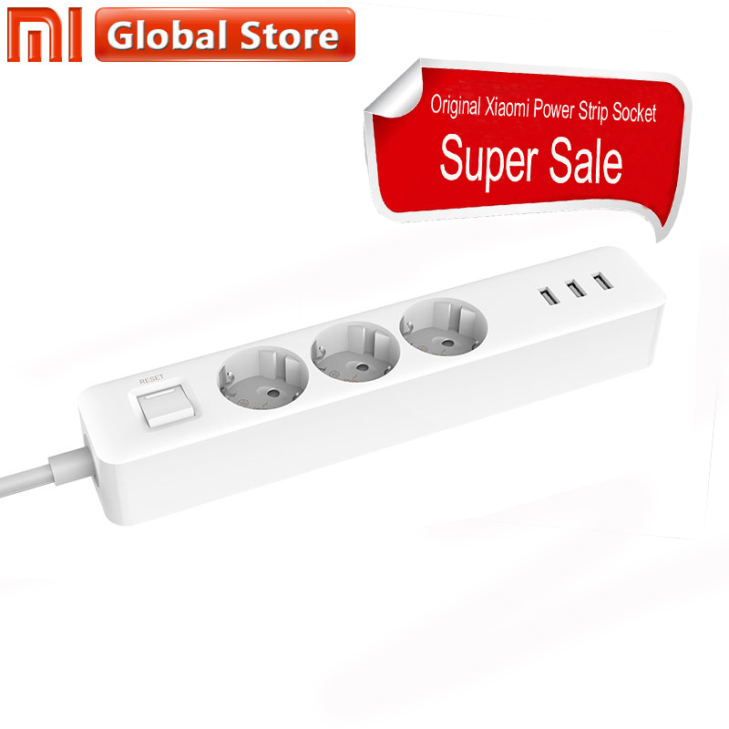 Power Streifen Xiaomi Mijia Buchse 3 USB 3 Buchsen Outlet Erweiterung Port Stecker Original Xiaomi Steckdosen Stecker EU Verlängerung Patch Bord