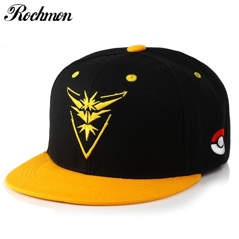 85fd8df7337 ROCHMON Pokemon Go Baseball Cap for Men Black Hip Hop Hats Women Snapback K  Pop Dad Hat Bone Neymar Moto Gp Canada Caps RM207-in Baseball Caps from  Apparel ...