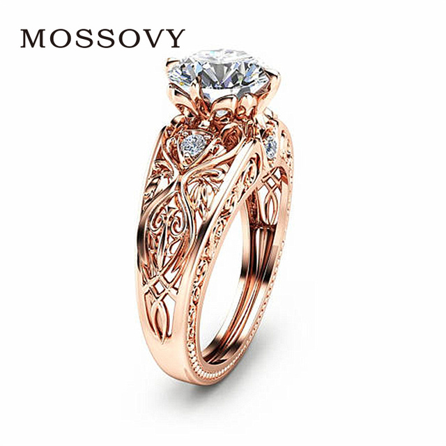 Mossovy Simple Zircon Rose Gold Engagement Ring for Female Ashion Popular  Rhinestone Silver Wedding Rings for Women Jewelry 9f38115cdefd